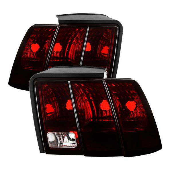 99-04 Ford Mustang Tail Lights Red Smoked Pair