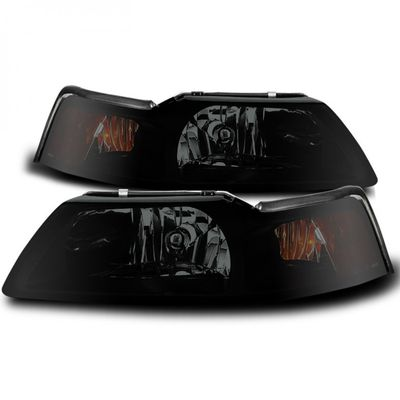 99-04 Ford Mustang Replacement Headlights - Black Smoked