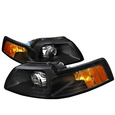 99-04 Ford Mustang Retrofit Style Projector Headlights - Black