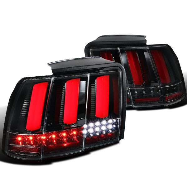 99-04 Ford Mustang Sequential LED Signal Tail Lights - Gloss Black