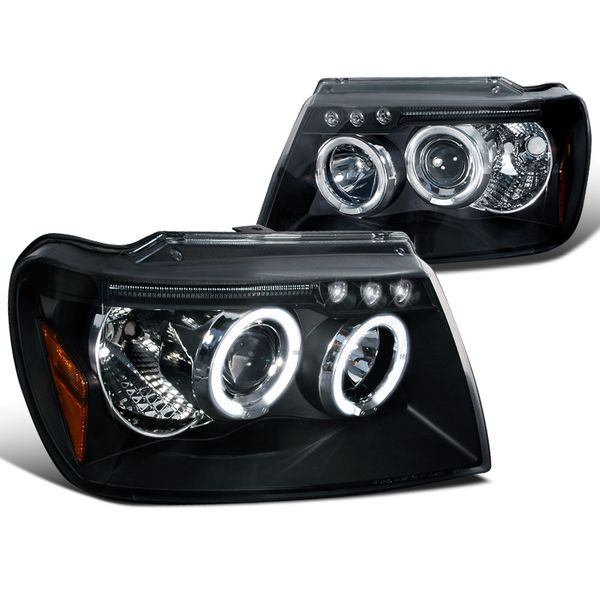 99-04 Grand Cherokee Angel Eye Halo Projector Headlights - Black