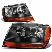 99-04 Jeep Grand Cherokee Crystal Replacement Headlights - Black