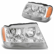 99-04 Jeep Grand Cherokee Crystal Replacement Headlights - Chrome
