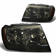 99-04 Jeep Grand Cherokee Crystal Replacement Headlights - Smoked