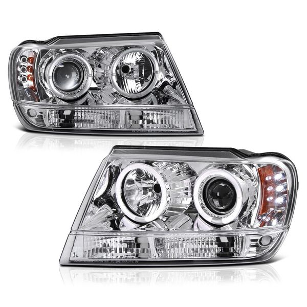 99-04 JEEP Grand Cherokee Dual Halo LED Projector Headlights - Chrome