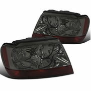 99-04 Jeep Grand Cherokee Factory-Style Headlights - Smoked