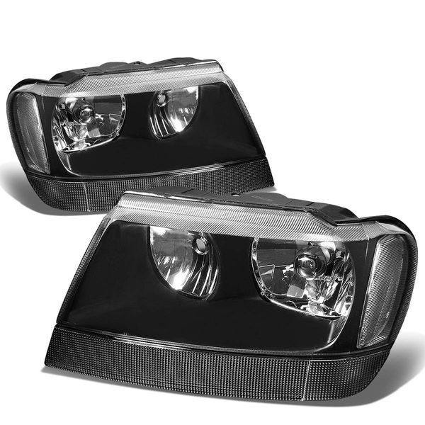 99-04 Jeep Grand Cherokee Replacement Crystal Headlights - Black Clear