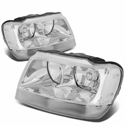 99-04 Jeep Grand Cherokee Replacement Crystal Headlights - Chrome Clear