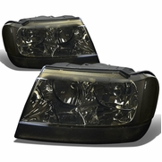 99-04 Jeep Grand Cherokee Replacement Crystal Headlights - Smoked Clear