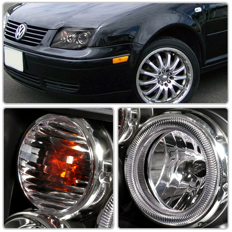99 04 Volkswagen Jetta R8 Style Dual Halo Led Projector Headlights Chrome