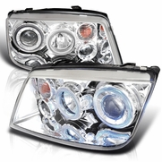 99-04 Volkswagen Jetta R8 Style Dual Halo LED Projector Headlights - Chrome
