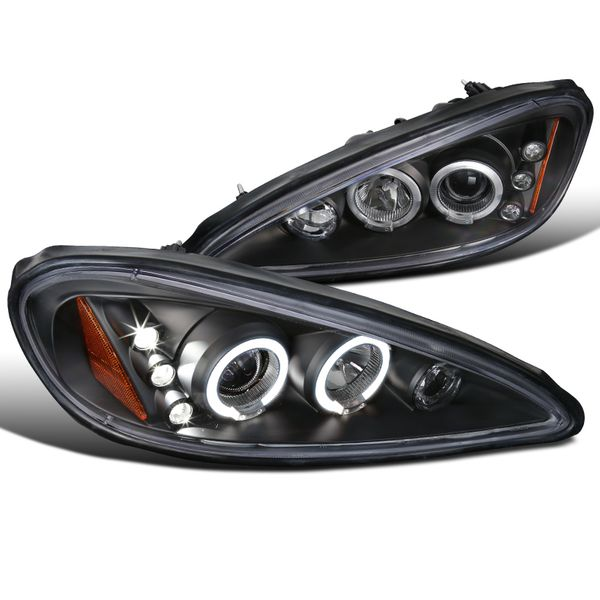 99-05 Pontiac Grand AM Dual Halo & LED Projector Headlights - Black