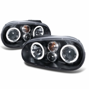 99-05 Volkswagen Golf / GTI MK4 Angel Eye Halo Projector Headlights - Black