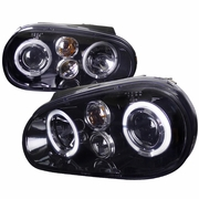 99-05 Volkswagen Golf / GTI MK4 Angel Eye Halo Projector Headlights - Gloss Black