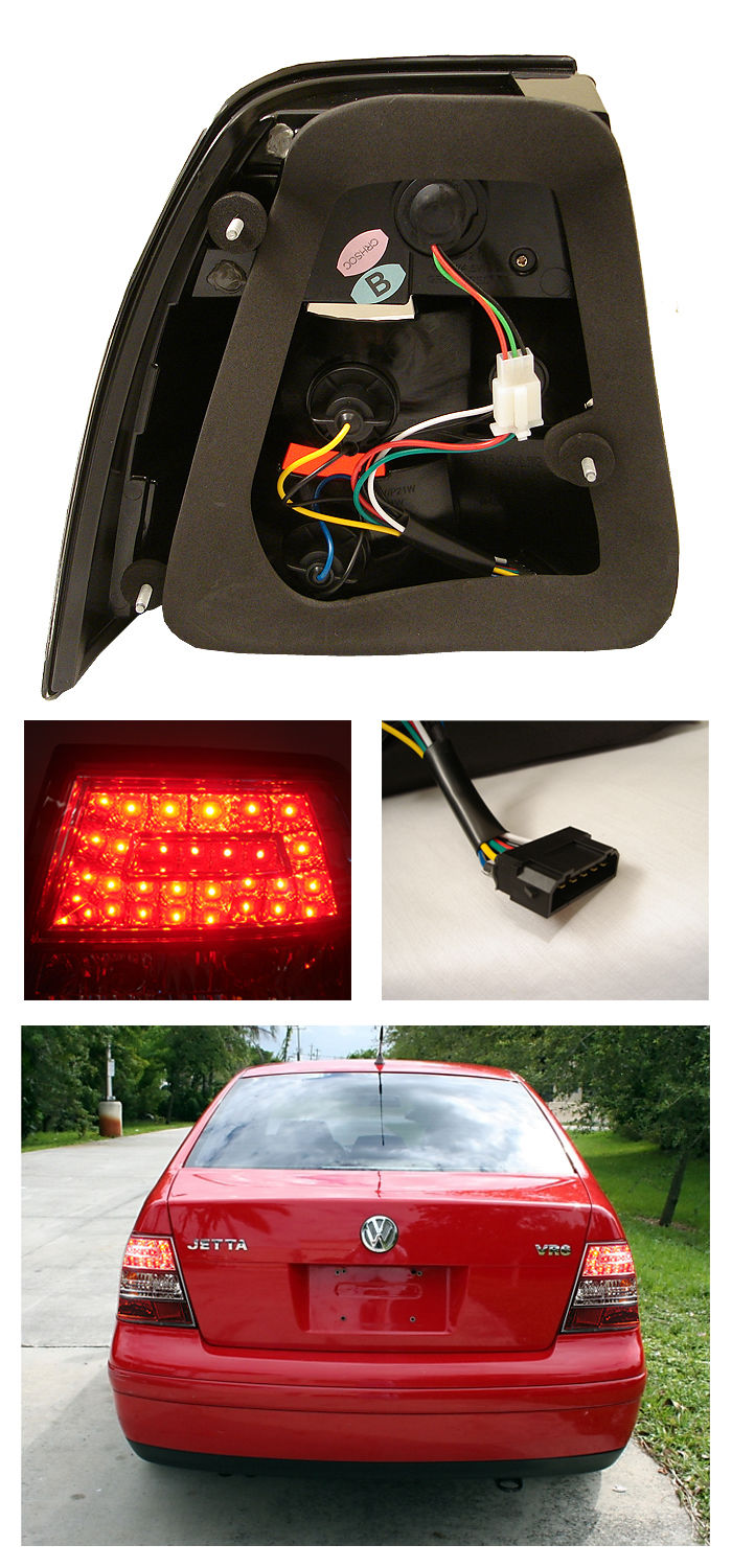 volkswagen jetta euro style led tail lights smoked  vj led sm  spyder