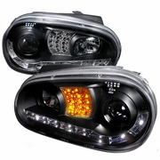 99-06 VW Golf / GTI MK4 LED DRL Projector Headlights - Black