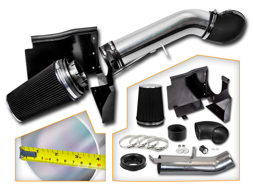 FOR 99-06 CHEVY//GMC//CADILLAC V8 GRAY FILTER CHROME AIR INTAKE PIPE+HEAT SHIELD