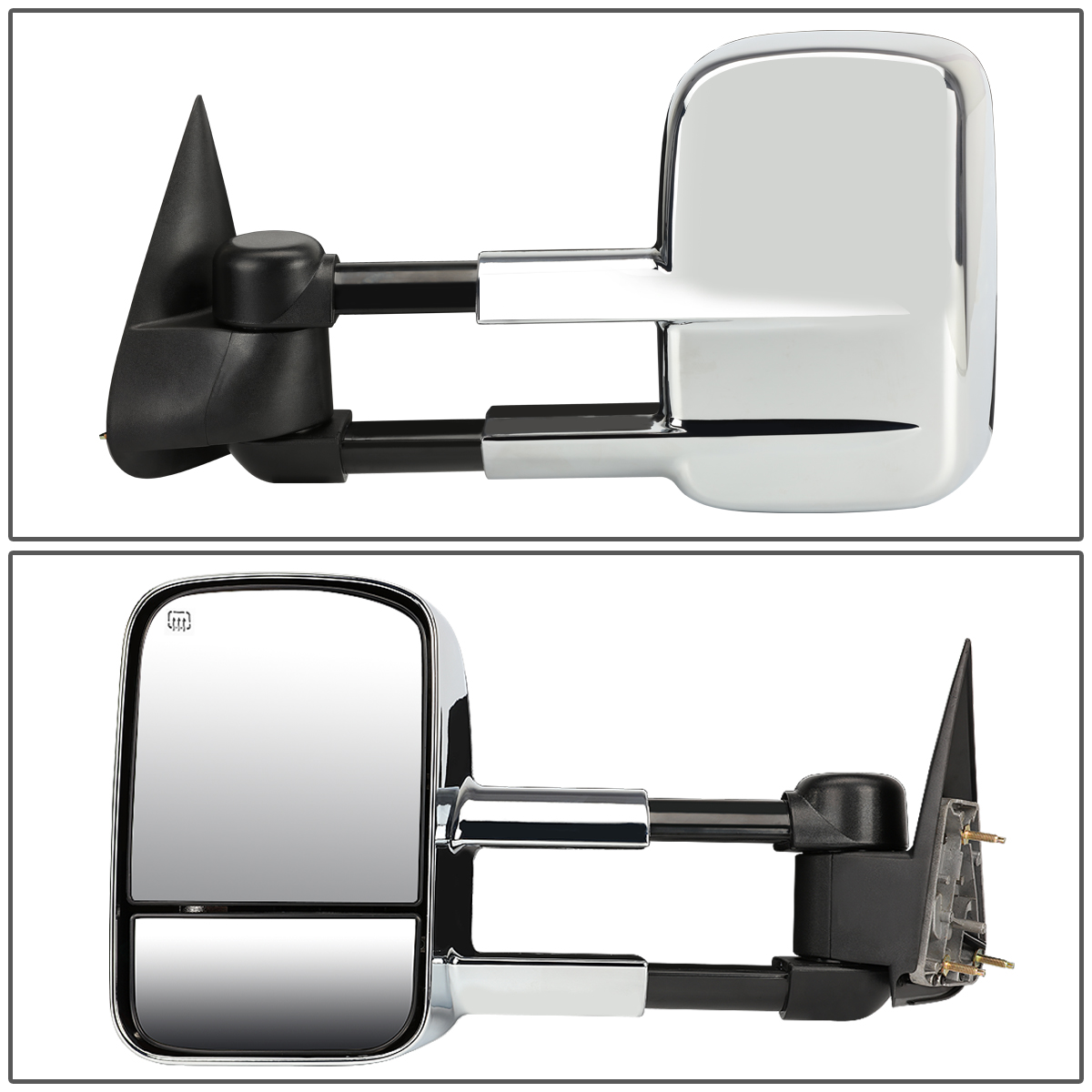 Black Pair Telescopic Extended Arm Rear View Manual Towing Side Mirror for Chevy Silverado GMC Sierra 99-06