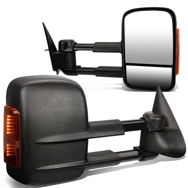 99-06 Chevy Silverado [Manual Adjust] Telescoping Towing Side Mirror - Black / Amber Signal