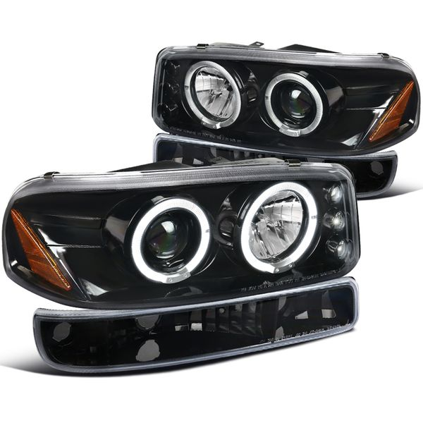 99-06 Sierra 00-06 Yukon XL Pearl Black Halo Projector Headlights Bumper Lamps