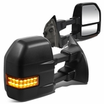 99-07 Ford F250-F550 Super Duty LED Signal Powered+Heated Towing Mirrors - Black / Amber