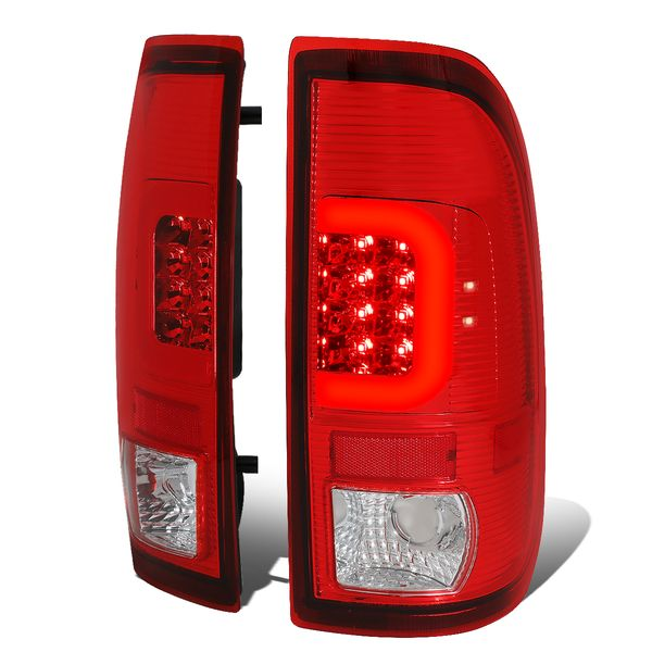 99-07 Ford F250 Super Duty / 97-03 F150 LED Red C-Tube Tail Lights - Red / Clear
