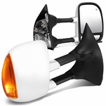 99-07 Ford Super Duty F250-F550 Pair of Powered + Heated Glass + Signal + Manual Extendable Chrome Side Towing Mirrors