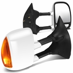 99-07 Ford Super Duty Pair of Chrome Telescoping Manual Extendable + Amber Signal Side Towing Mirrors