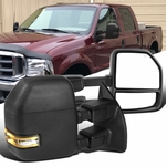 99-16 Ford F250 F350 Black Power Heated Extend Tow Mirrors+Smoke LED Signal