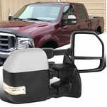99-16 Ford F250 F350 Chrome Power Heat Extend Tow Mirrors+Smoke LED Signal