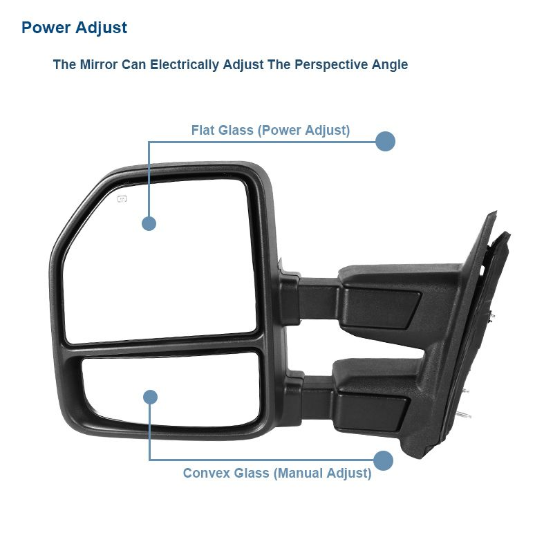 For 1999-2016 F250 Power Heated Towing Mirrors+Smoke LED Signal ...