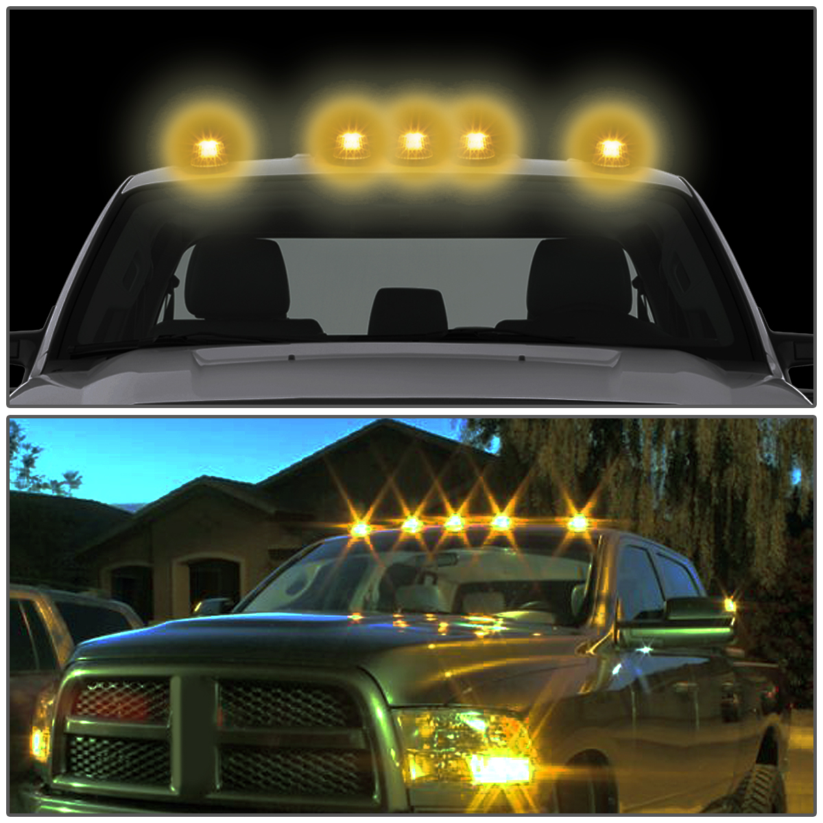 99-16 ford superduty 5 x led cab roof top lights + wiring harness (black  housing