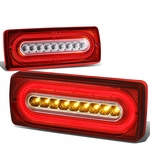 1999-2018 Mercedes Benz G-Class G500 G55 G550 G63 Sequential LED Tube Tail Lights - Red Clear