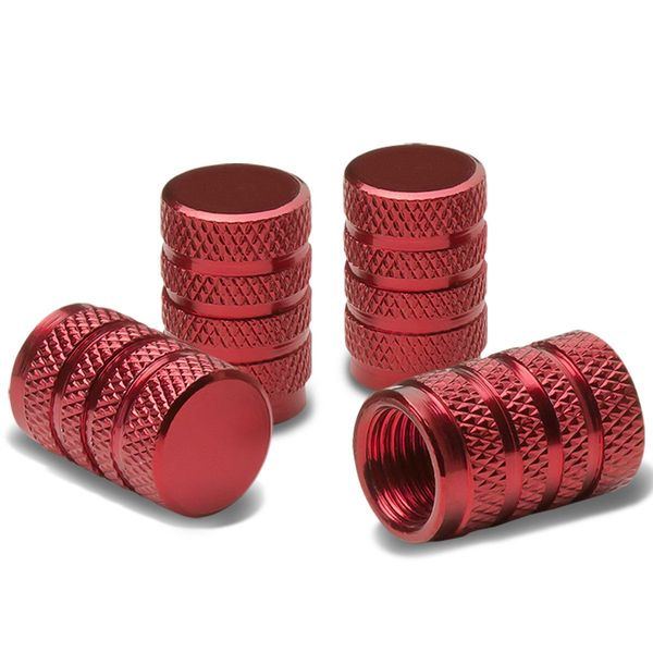 Alloy Coated Thread Aluminum Red Chrome Tire Valve Stem Caps (Pack of 4)