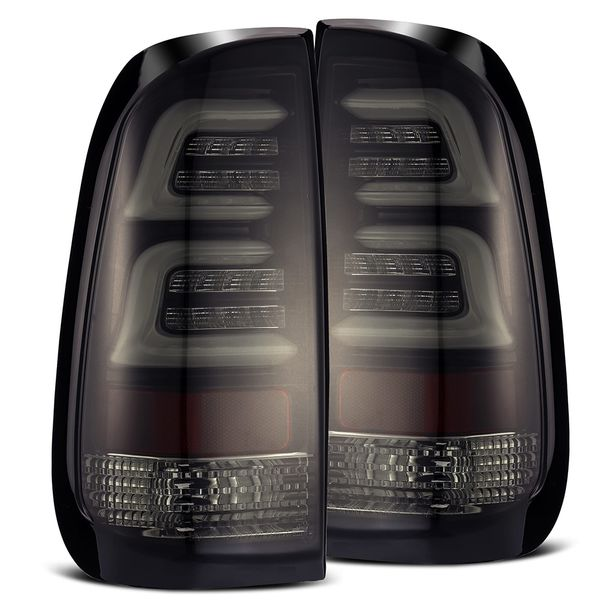 1997-2003 Ford F150 Optic-Style LED Tail Lights - Jet Black / Smoked lens