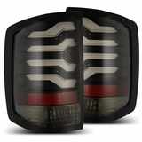 Alpha Rex 2014-2018 Chevy Silverado Optic-Style LED Tail Lights - Jet Black / Smoked lens