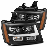 Alpha Rex Base Model 2007-2013 Chevy Tahoe Projector Headlights - Jet Black