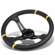 Aluminum Frame Vinyl Leather Cover 350mm 6-Bolt Steering wheels + Horn Button (Black Spoke / Yellow Stripe)