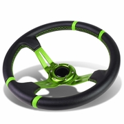 Aluminum Frame Vinyl Leather Cover 350mm 6-Bolt Steering wheels + Horn Button (Green Spoke / Green Stripe)