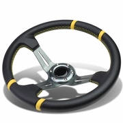 Aluminum Frame Vinyl Leather Cover 350mm 6-Bolt Steering wheels + Horn Button (Gun Metal Spoke / Yellow Stripe)