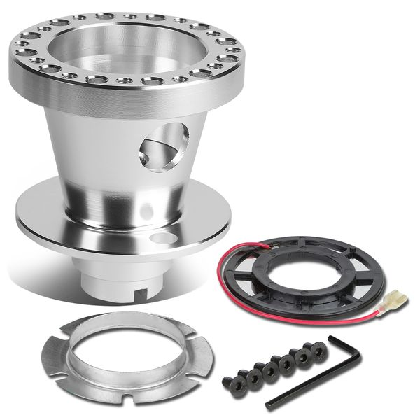 Aluminum Steering Wheel 6-Hole Hub Adaptor Kit Silver - Civic / Integra / Del Sol