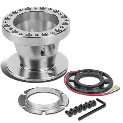Aluminum Steering Wheel 6-Hole Hub Adaptor Kit Silver - Honda Accord / Prelude