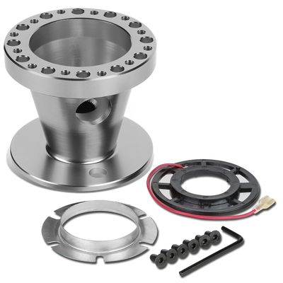 Aluminum Steering Wheel 6-Hole Hub Adaptor Kit Silver - Mitsubishi Eclipse / Lancer / Pickup