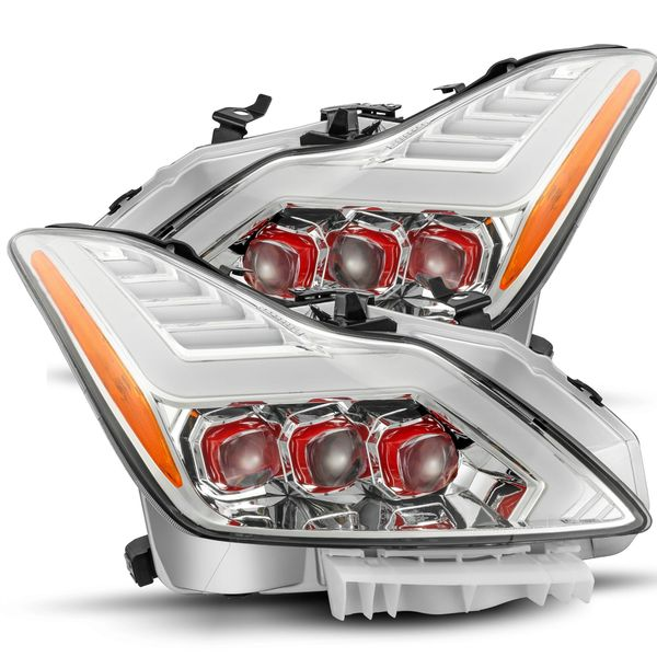 Alpha Rex Red NOVA-Series 2008-2013 Infiniti G37/2014-2015 Q60 Projector Headlights - Chrome