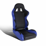 Black Blue Fully Reclinable PVC Leather Driver Left Side Racing Seat w/ Slider