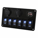 Blue LED Laser Etched Rocker Switch Panel 6 Gang Waterproof Boat Car 12V 24V