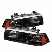 BMW 325 318 328 E36 92-98 2Dr 1Pc LED Projector Headlights - Black