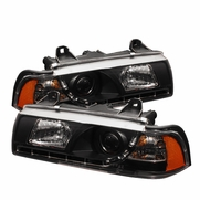 BMW 325 318 328 E36 92-98 4Dr 1Pc LED Projector Headlights - Black
