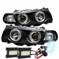 BMW E38 7-Series 99-01 1PC Halo Projector Headlights - Black with HID Kit