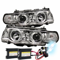 BMW E38 7-Series 99-01 1PC Halo Projector Headlights - Chrome with HID Kit